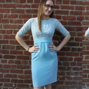 Vintage bombshell 1960's baby blue wiggle dress