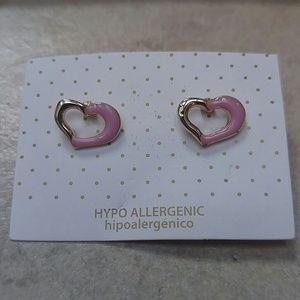 Jewelry - Jewelry   SMALL GOLD & PINK OPEN HEART EARRINGS