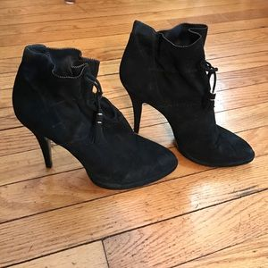 Aerin Shoes - AERIN black suede heeled booties