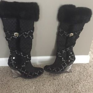 Baby Phat stylish boots with black fur