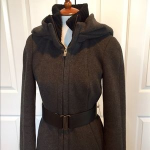  Zara Gray Wool Coat with Leather Belt Size L
