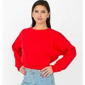American Apparel Red Crop Sweatshirt
