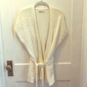 Tie waist cream colored sweater