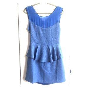 Whitney Eve Dresses & Skirts - Jacquard Muted Blue peplum back out dress