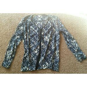 Cabi blue & white sheer cheetah print blouse