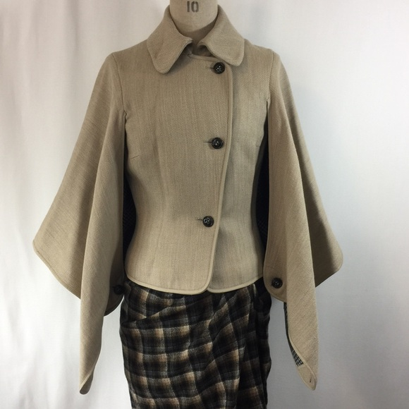 search for clearance details for brand quality Karen Millen // Wool Camel Cape Jacket Boutique