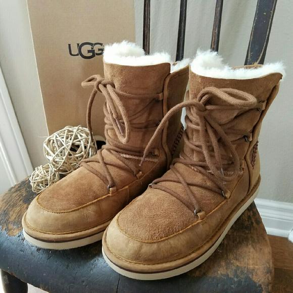 d17e6bd7829 Lodge Fur-Lined Lace-Up Boot, Chestnut