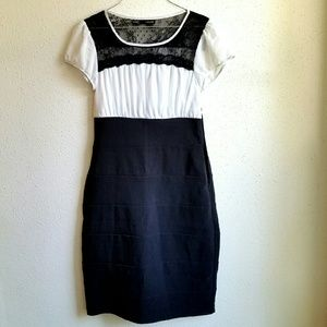 Fitted Black & White Dress