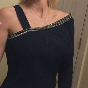 One Shoulder Ribbed Sweater Sz L