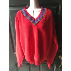 ✨ Vintage Oversized Vibrant Red V-Neck Sweater