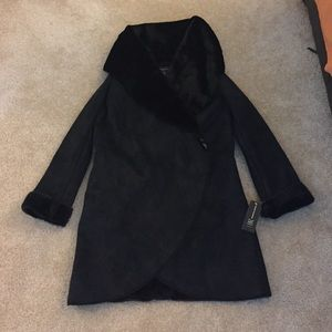 INC International Concepts Jackets & Blazers - Deep Black Faux Suede Coat