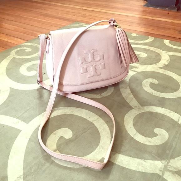dba21b65791 Tory Burch Thea porcelain pink leather tassel bag.  M 5839f38c291a35865908d8b5