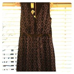 Ali Ro black and white dress with leather detail