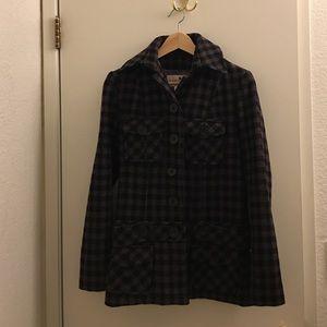 Final sale Plaid Wool Peacoat