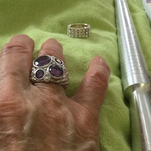 Jewelry - Sterling party ring with amethysts, 8