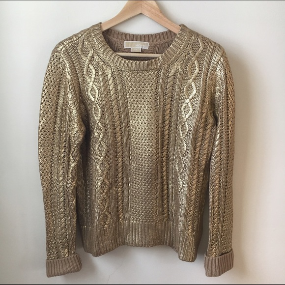 MICHAEL Michael Kors gold cable knit sweater. M 5839f834c28456d6a308f030 93486336c