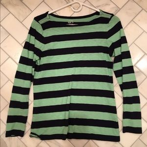 J. Crew Mint and Navy Striped Tee