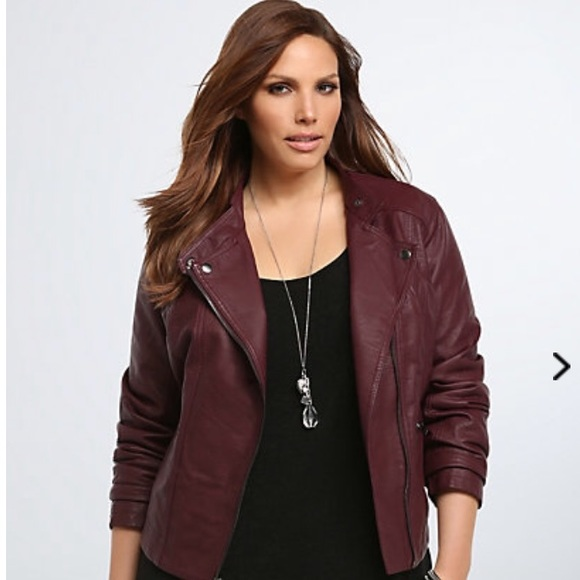 7440517dec2 NWT TORRID PLUS 2x FAUX LEATHER MOTO JACKET MERLOT