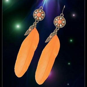 Jewelry - Vintage Boho Style Orange Feather Earrings