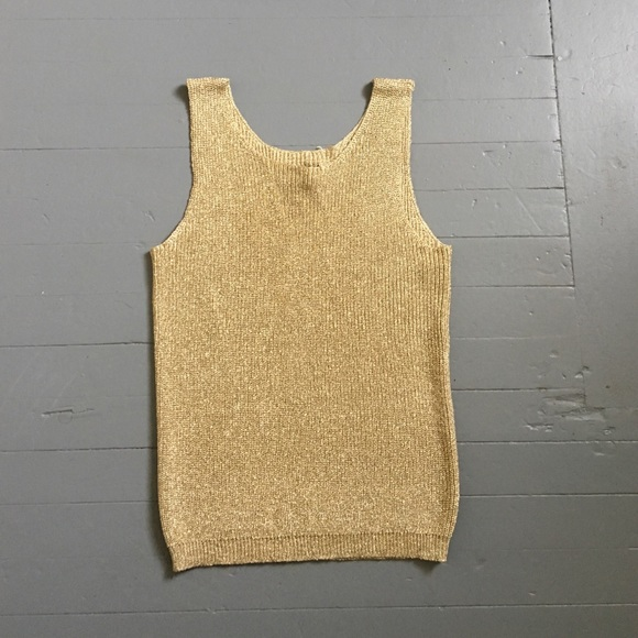 Vintage 1970s Metallic Thread Gold Knitted Top.