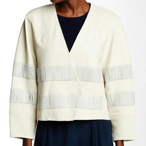 Tibi Jackets & Blazers - 🎉TIBI New Lambskin Leather Cream Jacket Coat