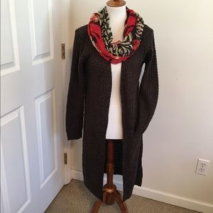 Sweaters - Open cardigan brown knit maxi sweater