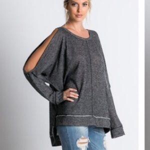 Oversized cold shoulder tunic sweatshirt