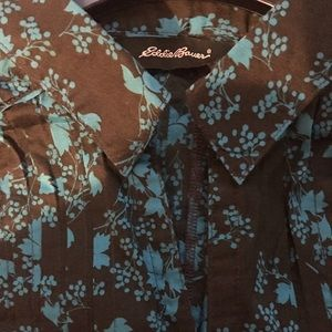 Eddie Bauer Tops - Eddie Bauer ladies floral shirt brown and blue.