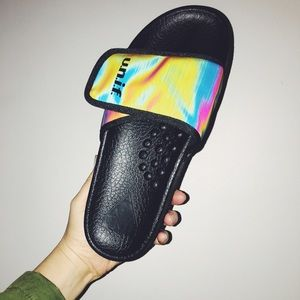 UNIF holographic sandals brand new in box size 9