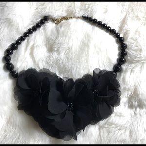 Black lace flower necklace