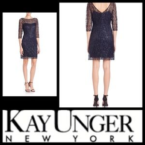 Kay Unger Dresses & Skirts - SEQUINED CROCHETED SHEATH DRESS