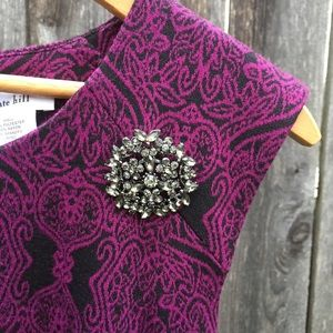 Kate Hill Dresses & Skirts - Kate Hill black and purple dress with broach.