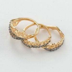 White Topaz Gold & Rhodium Puzzle Ring