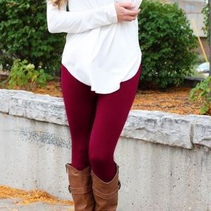 ✨NEW ARRIVAL✨ BURGUNDY regular waist fleece leggin