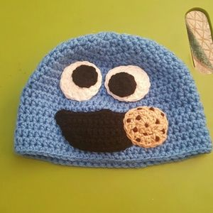 Cookie monster crochet hat