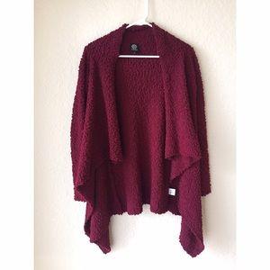 bobeau Sweaters - Burgundy Fuzzy Cardigan
