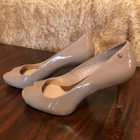 d3e4fa82b2 Calvin Klein Shoes - Calvin Klein Nude Peep Toe Heels Shoes Pumps 8 1/2