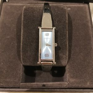 Gucci Accessories - 🐘 Gucci blue plated silver watch