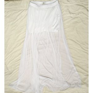 River Island Dresses & Skirts - River Island thigh slit white sheer maxi skirt