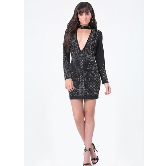 65d5dac544a bebe Dresses   Skirts - BEBE Alexa Plunge Neck Embellished Dress