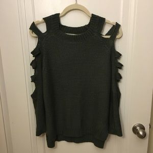 LF Sweaters - LF Olive Green Sweater With Shoulder Cutouts