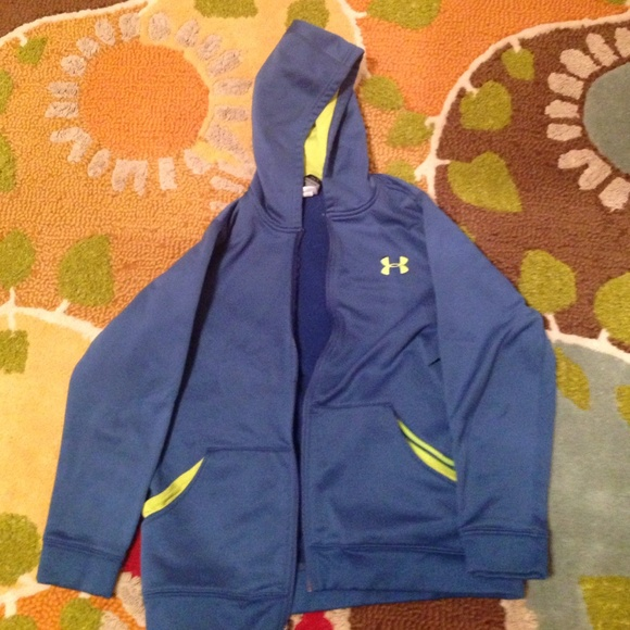 937671400 Under Armour Jackets & Coats | Youth Ylg Blue And Neon Green Jacket ...