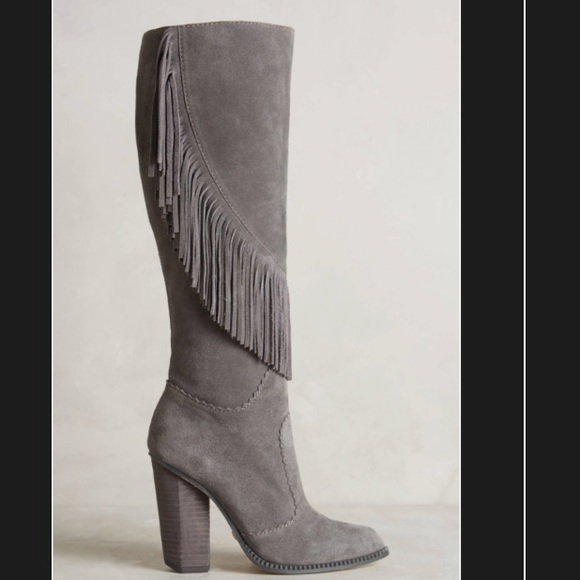 3a4c425cce0 Cynthia Vincent Suede Fringe Knee Boots in Smoke