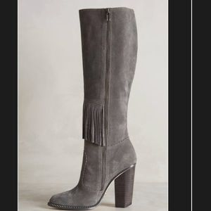 c74787c893b Cynthia Vincent Shoes - Cynthia Vincent Suede Fringe Knee Boots in Smoke