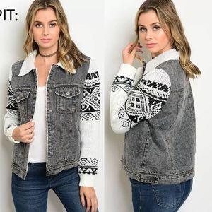 Jackets & Blazers - Denim Sherpa motor jacket