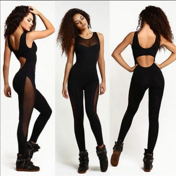 4ddbff39173 Sexy mesh panel hollow back sexy exercise jumpsuit Boutique