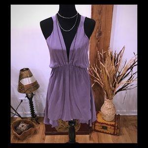 Aaron Ashe Dresses & Skirts - Aaron Ashe Purple 100% Silk Low-Cut Dress