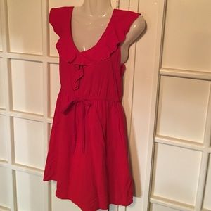 LITTLE RED RAYON DRESS 