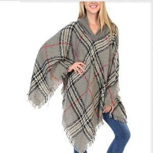 Jackets & Blazers - Burberry Style Hoodie Plaid Poncho