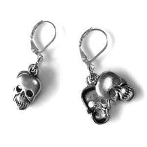 Hand Crafted Skull Earrings Silver 2-sided pierced